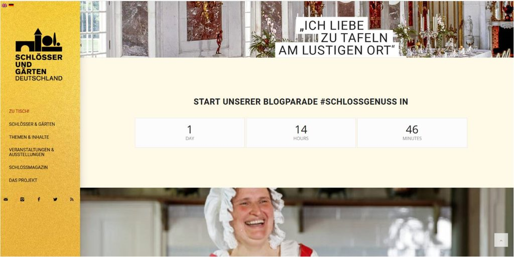 Screenshot von Schlösser und Gärten e. V. - Schlösser zu Tisch. Countdown zur Blogparade #SchlossGenuss, Start. 2.5.18 - prima Gelegenheit direkt umzusetzen die Tipps zur erfolgreichen Teilnahme an einer Blogparade.