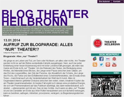 "Blogparade ""Alles nur Theater!?"", Blog Theater Heilbronn"
