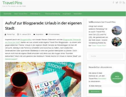 """Blogparade """"Urlaub in der eigenen Stadt"""", Travelpins"""