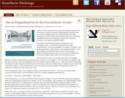 Screenshot: Blog Österreichisches Jüdische Museum
