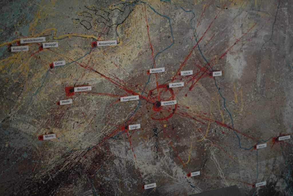 Ölgemälde von André Blank, das die wichtigsten Exportgebiete von Raerener Steingut zeigt.