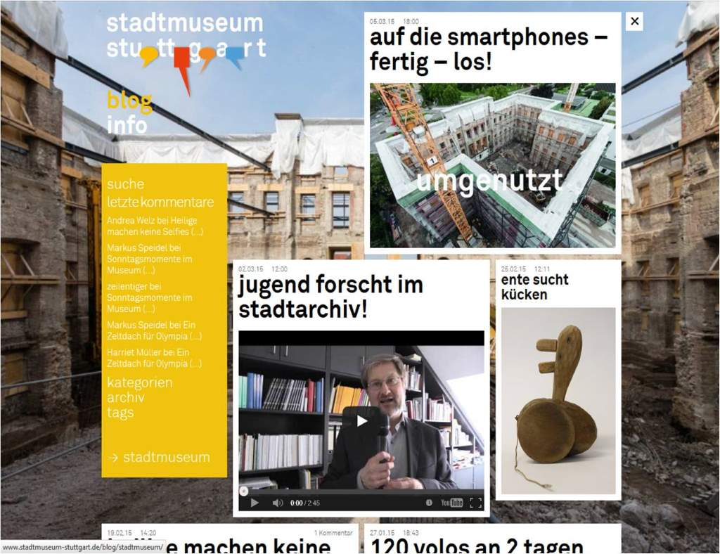 Witzig, klarer Duktus und einfach nur wunderbar: das Blog des Stadtmuseums Stuttgart - klare Leseempfehlung!