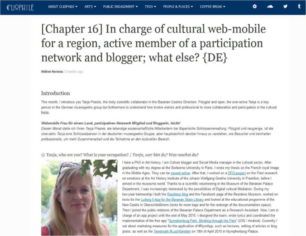 Cliophile lernte ich als #museogeek auf Twitter kennen - endlich gibt es das Interview mit mir über die digitale Kulturvermittlung