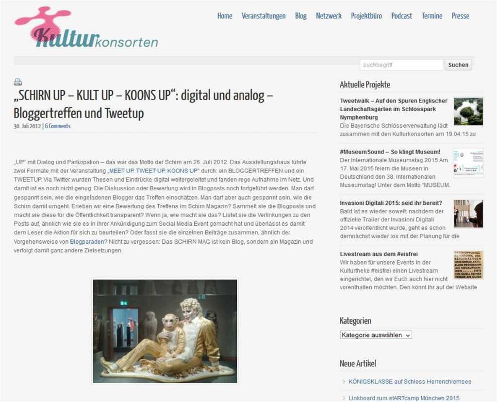 """""""Koons Up"""" war das erste Bloggertreffen, das von einem Ausstellungshaus - Schirn - in Deutschland organisiert wurde."""
