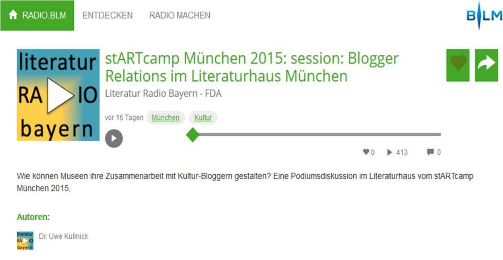 """Auf dem Podium """"Blogger Relations"""" diskutierten die Kunsthalle Karlsruhe, @WWecker, @ma_veen, @musermeku und ich. @Cogries moderierte die Session."""