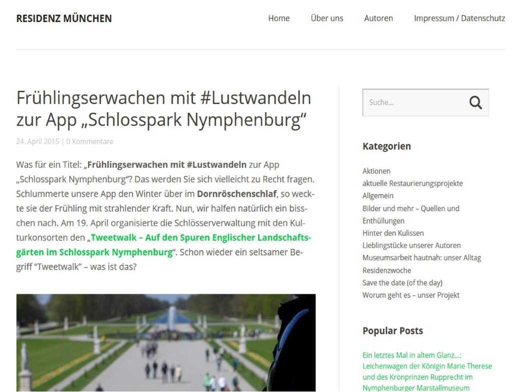 Nymphenburger Schlosspark; #NymApp; #Lustwandeln; App Schlosspark Nymphenburg; Tweetwalk