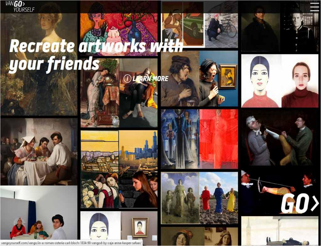 Auf VanGoYourself wird der Kunstliebhaber aufgefordert, beruehmte Kunstwerke mit den Freunden nachzustellen. Es erfolgt eine Gegenueberstellung von Original und nachgestelltem Gemälde.