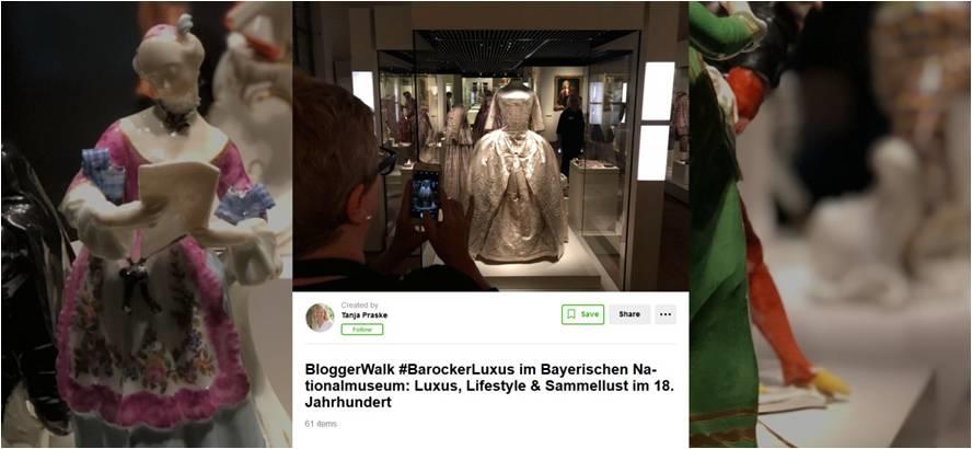 Dokumentation vom BloggerWalk #BarockerLuxus im Bayerischen Nationalmuseum vom Oktober 2018. Wakelet funktioniert wie früher Storify. Über Geschichtenerzählen können digitale Events festgehalten werden. Hashtags. Screenshot