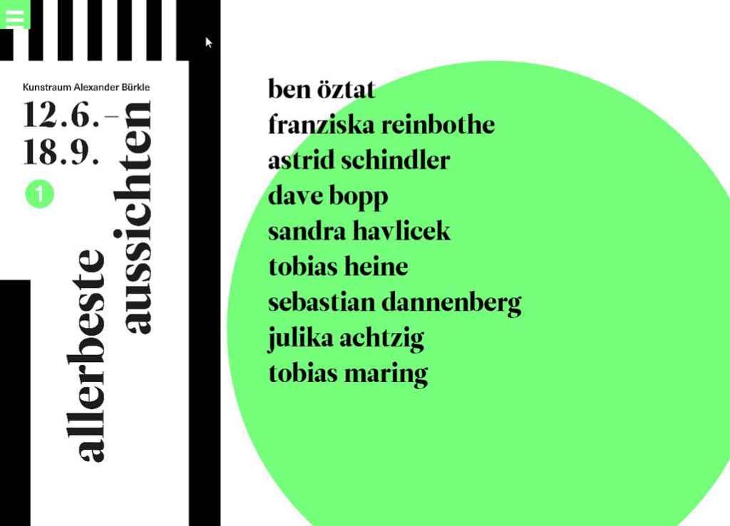 Screenshot von unserer Website zur Ausstellung www.allerbeste-aussichten.de im Kunstraum Alexander Bürkle, #KultTrip.