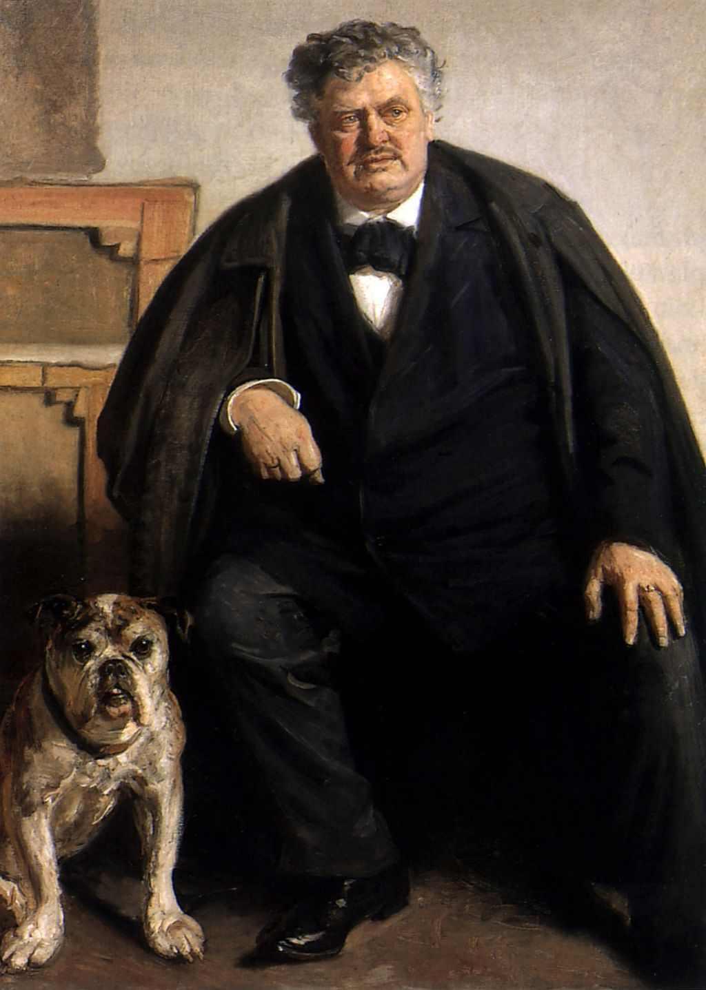 Carl Locher mit seinem Hund Tiger, 1909 gemalt von Michael Ancher: Public Domain ( Sammlung Skagens Museum)