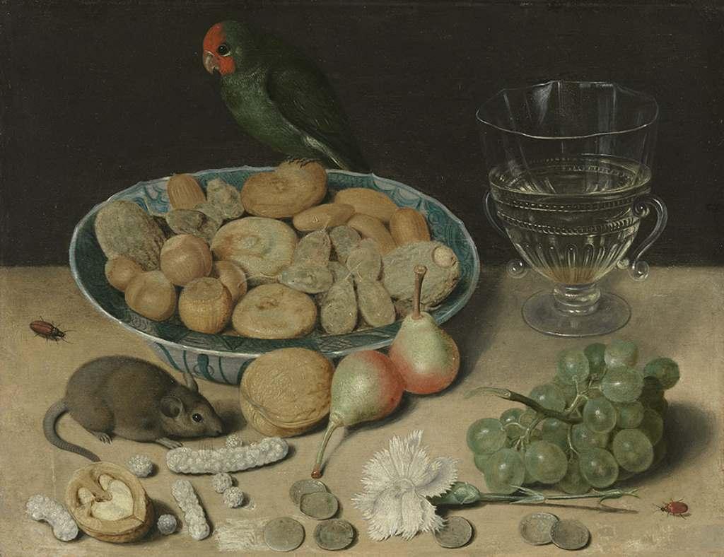Stillleben von Georg Flegel mit Nüssen, Obst, einer Maus, Käfer und einem Papagei, der auf der Schale sitzt. Frisches Obst war also gefährlich. Alte Pinakotheken