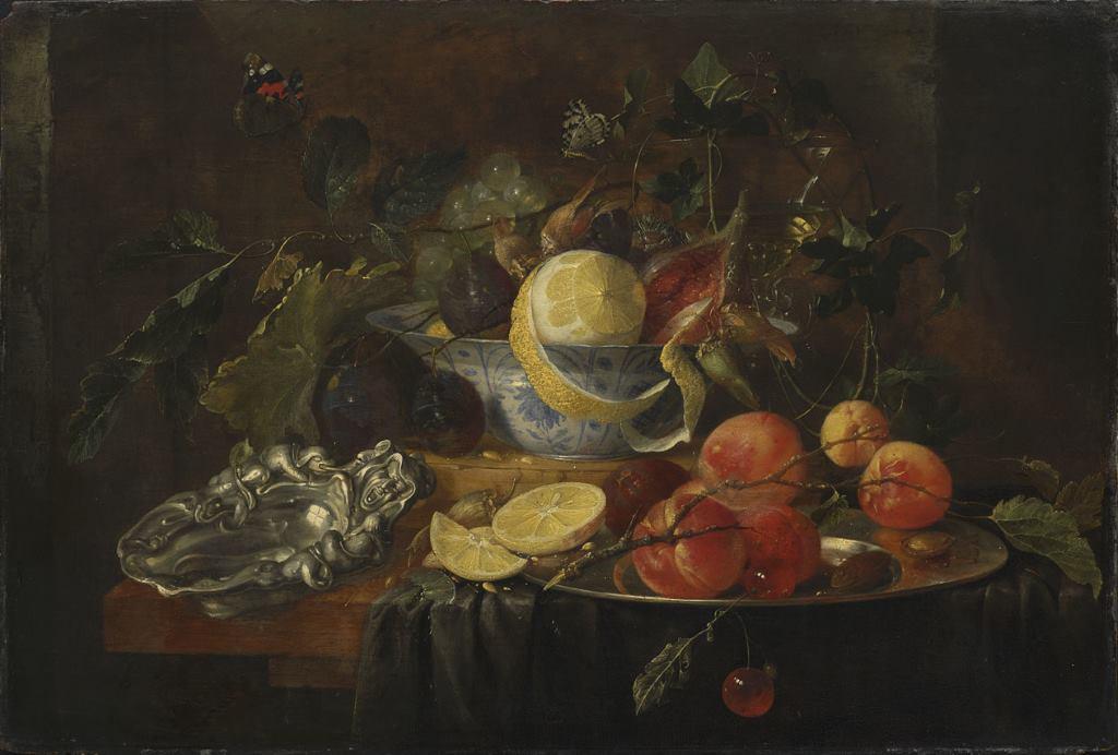 Stillleben mit frischem Obst, geschält und angeschnitten von Jan Davidsz de Heem mit Silberschale, Barockzeit. Lustwandeln der Genüsse. Alte Pinakothek