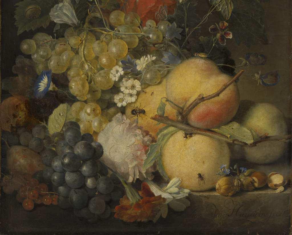 Detail eines Stilllebens von Jan van Huysum. Frisches Obst in einer Schale mit Insekten befallen, Barockgemälde von 1710. Sehr passend zum Lustwandeln in Schleißheim. Alte Pinakotheken, München