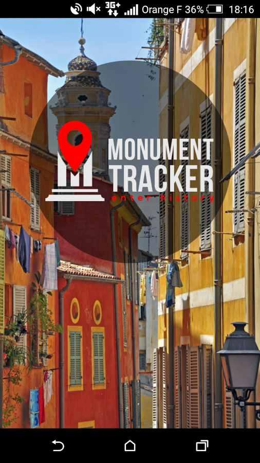 """Screenshot von der App """"Monument Tracker"""", die durch die Stadt Nizza führt."""