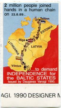 Postage Stamp dedicated tot he Baltic Way