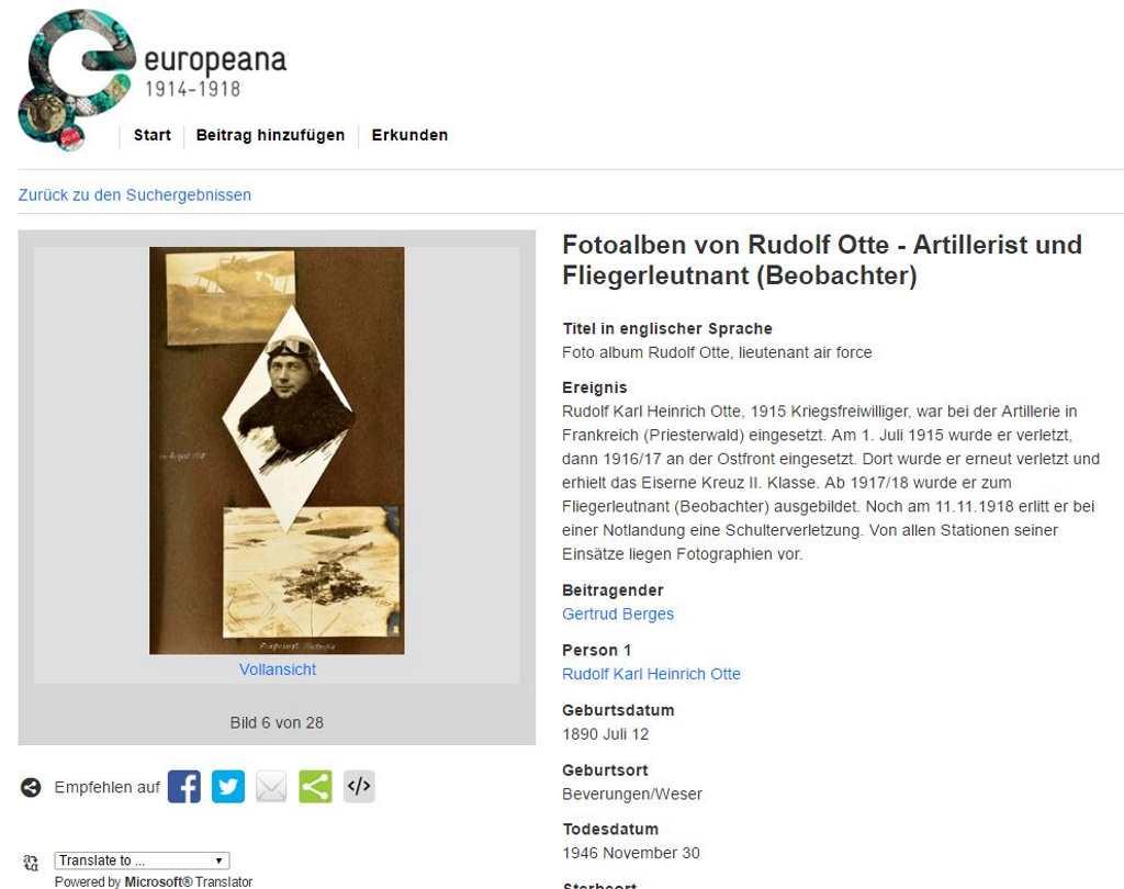 Komplett digitalisierte Fotoalben von Rudolf Otte , Screenshot Europeana 1914-1918