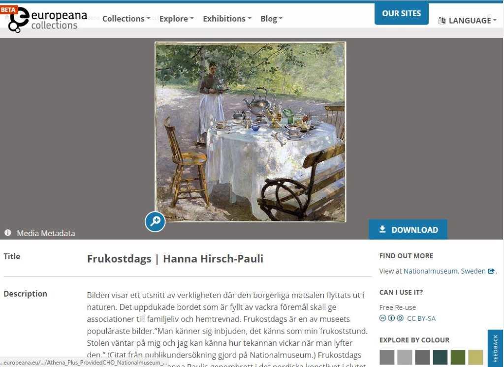 Screenshot von Hanna Pauli's 'Frühstück' auf der Website von Europeana (Sammlung Nationalmuseum Stockholm)