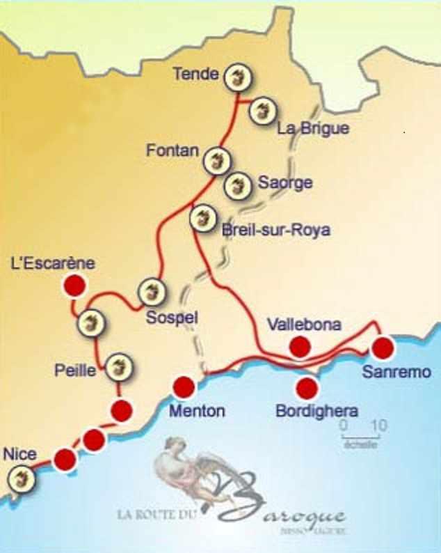 Kartenansicht mit Barockroute durch Südfrankreich und Italien. Lustwandeln