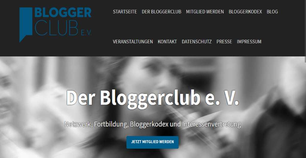 Screenshot von der Website des Bloggerclub e.V. #Anker16