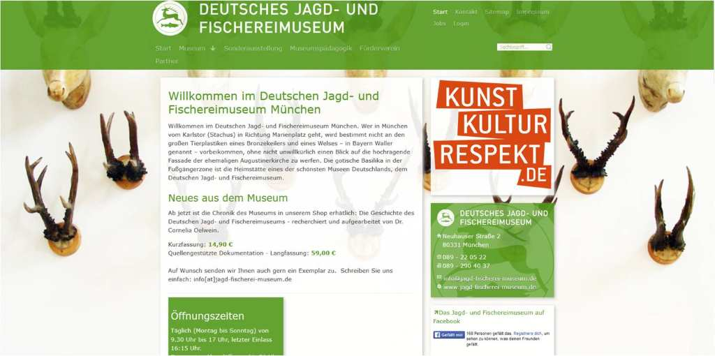 "Screenshot der Website des Deutschen Jagd- und Fischereimuseums. Dient zur Illustration meiner Blog-Serie ""Museen fuer Kinder in München"" #MusTipp"