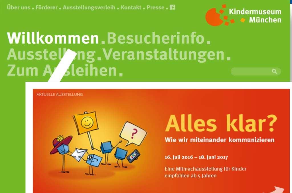 Screenshot von der Website des Kindermuseum München. #MusTipp