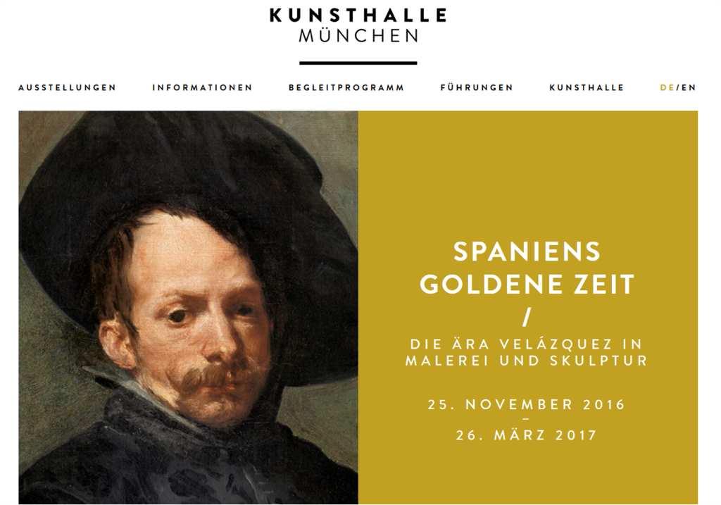 """Screenshot der Website der Kunsthalle der Hypo-Kulturstiftung mit der Ausstellungsankündigung zu """"Spaniens Goldene Zeit. die Ära von Velásquez"""". Dient zur Illustration des Kinderprogramms im Museum für #MusTipp"""