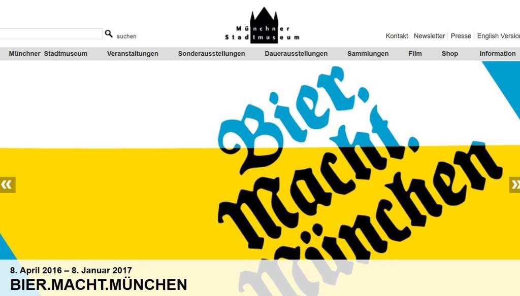 Screenshot der Website des Münchner Stadtmuseums mit der Werbung zur aktuellen Bier-Ausstellung. #MusTipp