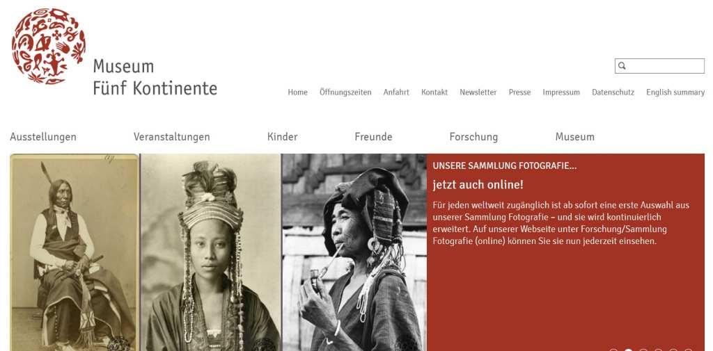 Screenshot der Website, Museum Fünf Kontinente in München. Hinweis auf aktuelle Fotoausstellung. #MusTipp