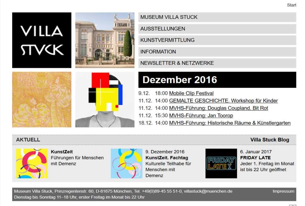 Die Villa Stuck bietet ein umfängliches Jugend- und Kinderprogramm an. Screenshot Website, #MusTipp