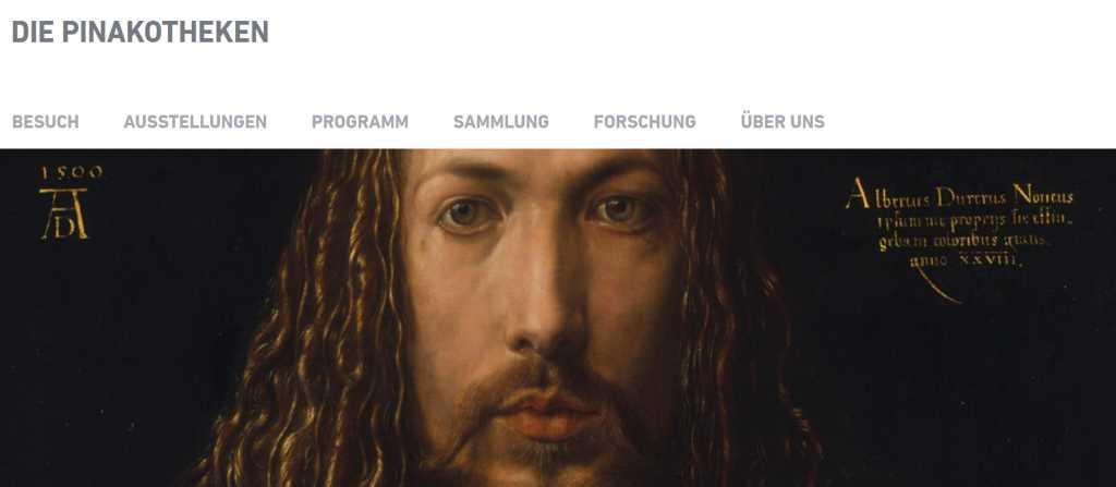 Screenshot Website der Pinakotheken mit Selbstporträt Albrecht Dürers. . #MusTipp
