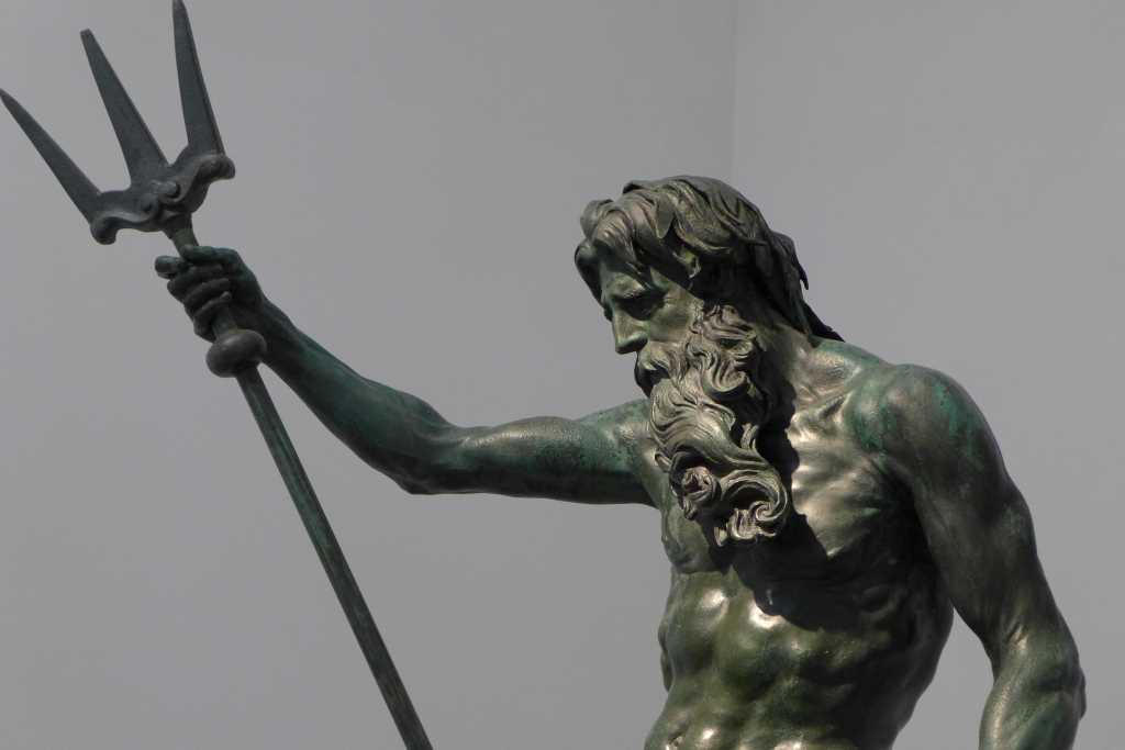 Ausschnitt der Skulptur Poseidon in der Skulpturensammlung der Residenz München.