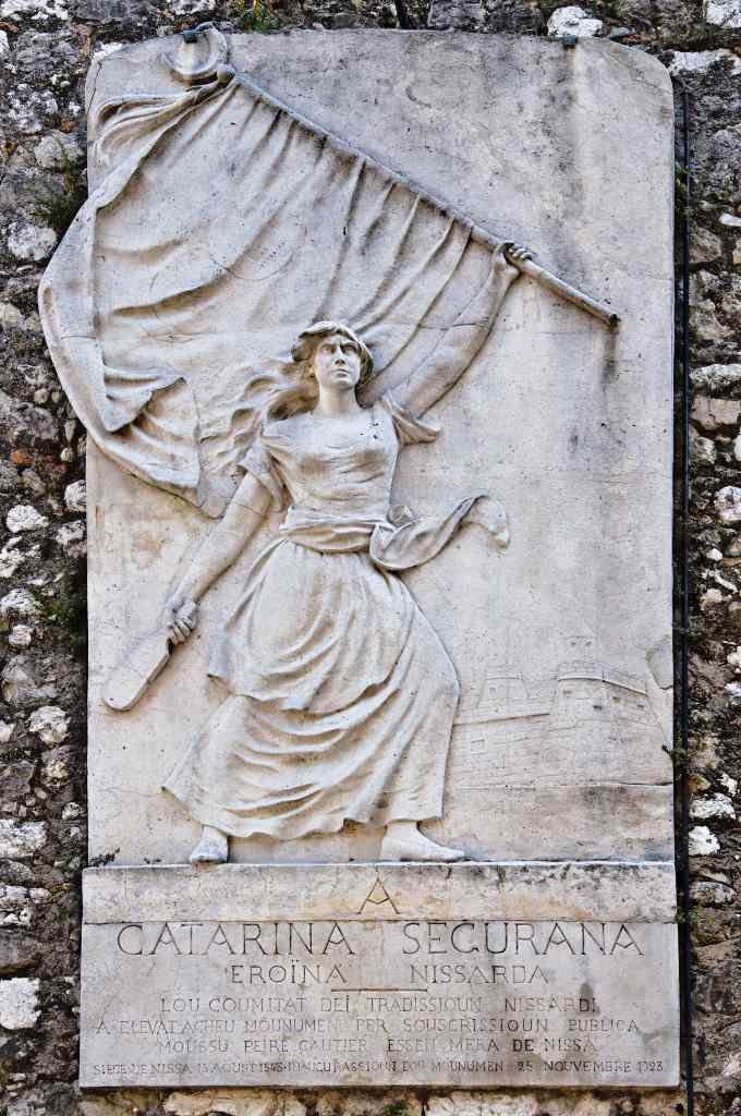 Marmorplatte mit Abbildung der Catarina segurana, die Türkenschlacht.