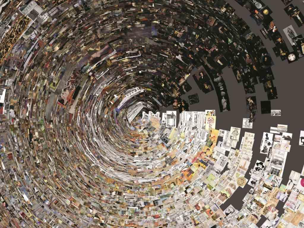 44.685 Bilder der Artemis-Datenbank nach Durchschnittshelligkeit sortiert. Bilder sind im Kreis angeordnet, sieht wie ein Sog/Trichter aus. Digitale Kunstgeschichte an der LMU, Montagsinterview mit Harald Klinke