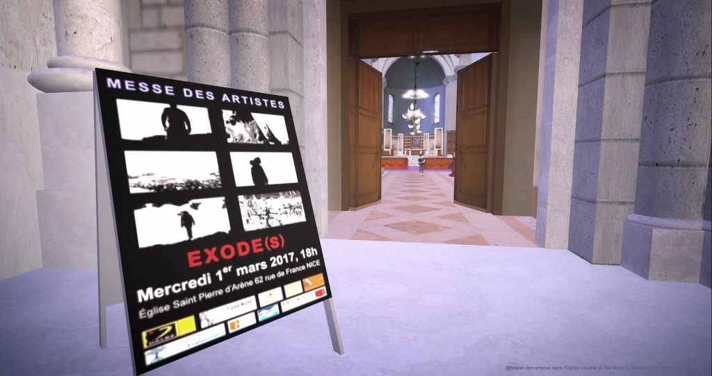 """Second Life der """"Messe des artistes"""". Plakat vor Kircheneingang. Event findet am Aschermittwoch in Nizza statt."""