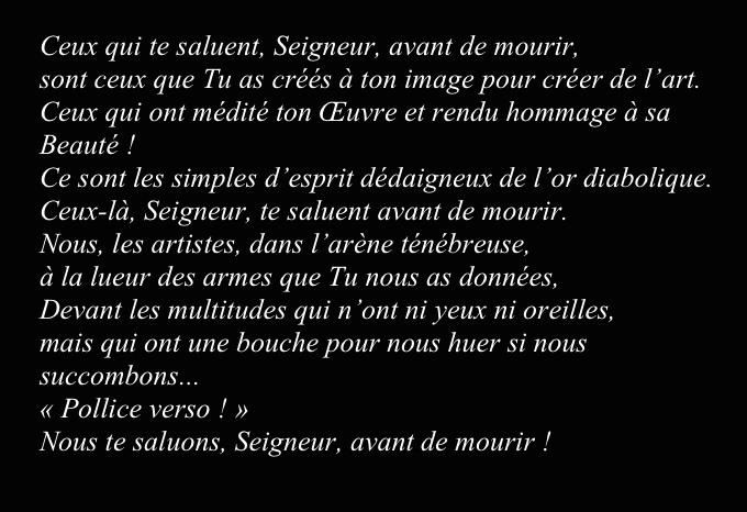 Auf schwarzen Hintergrund weiße Schrift mit Prière de Willette. Nizza