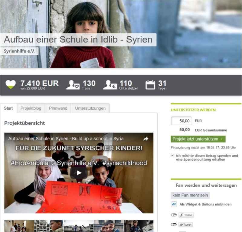 Screenshot vom Crowdfundingprojekt: Aufbau einer Schule für Kinder.