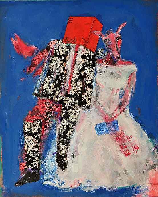 Buntes Bild, Frau im Hochzeitsgewand mit Tierkopf und Mann auf blauen Grund. Gemälde von Fadi Al Hamwi. Künstler aus Syrien