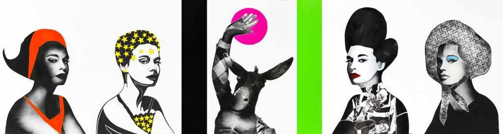 Arbeit von Khaled Takreti. Fünf Büsten in schwarz weiß mit bunt. Künstler aus Syrien.
