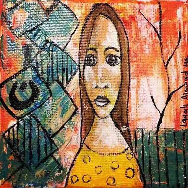 abstrahierter Frauenkopf auf buntem Grund von Layali Alawad. Künstler aus Syrien
