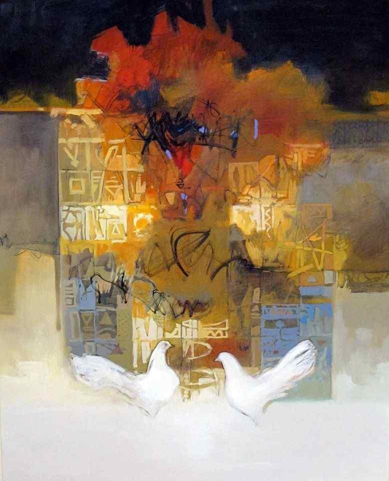 Gemälde von Naser Nassan Agha. mythische Göttin Ishar. Künstler aus Syrien.