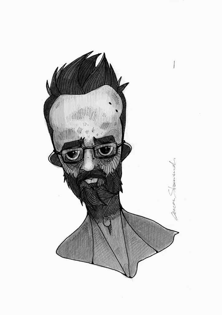 Karikatur eines Mannes in schwarzweiß, Selbstporträt. Künstler aus Syrien. Obaidah Zorik