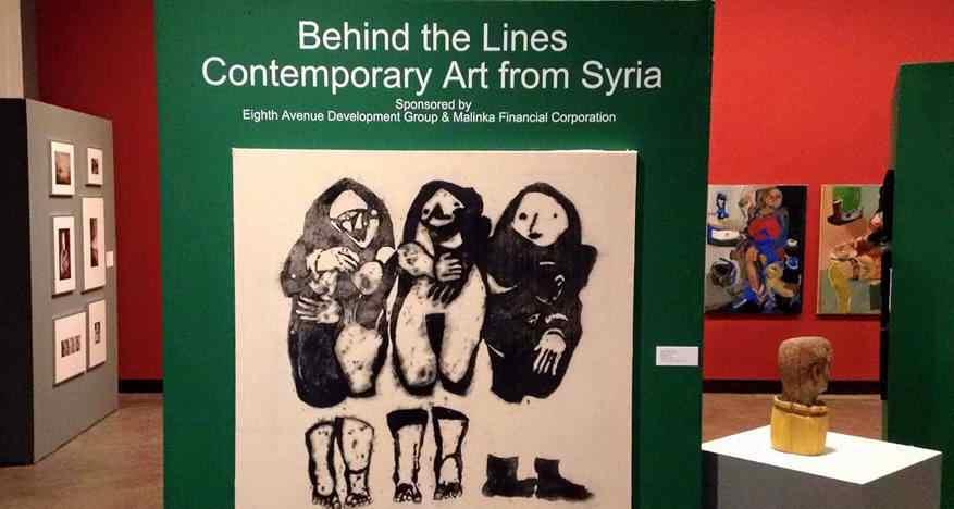"""Aufnahme in Ausstellung """"Behind The Lines"""" (2016) in Penticton Art Gallery, Penticton, B.C., Kanada © Syria.Art. Künstler aus Syrien"""