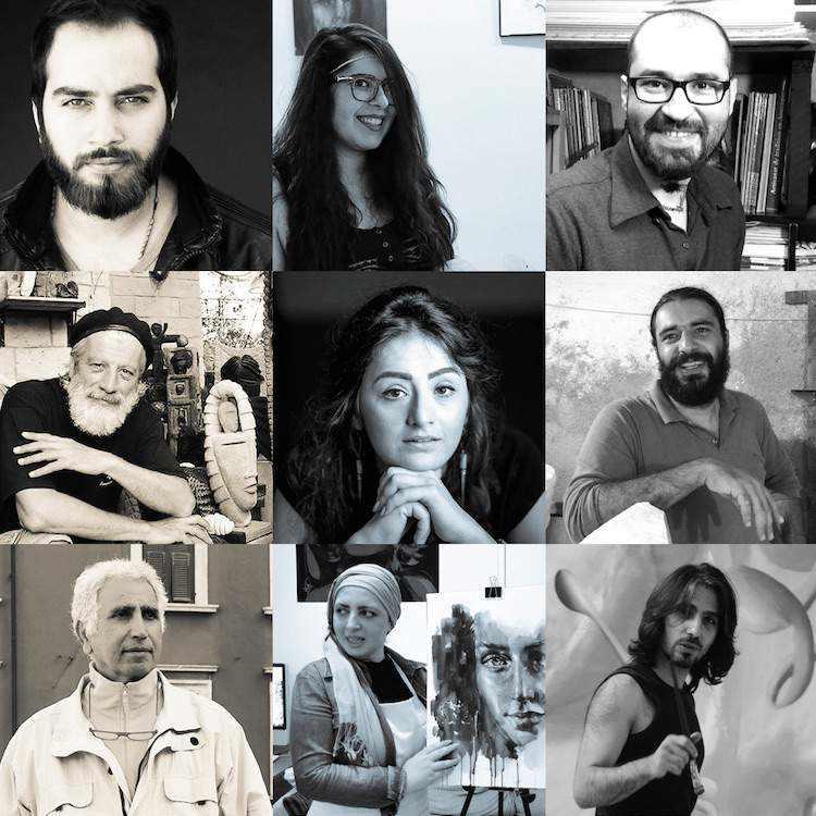 Neun Porträts von Künstlern aus Syrien. Gehören zur Syria. Art.