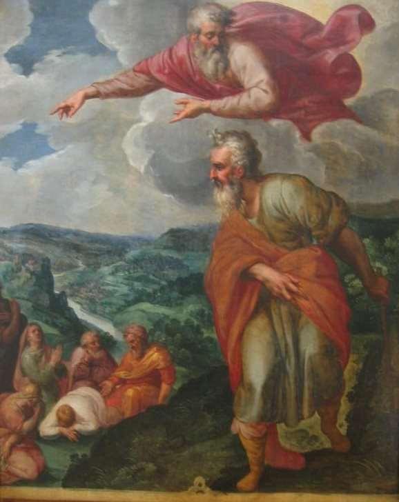 Gemälde von Otto van Veen. Gott zeigt Mose das gelobte Land. Befindet sich im Depot der Residenz München. Illustriert die prophetische Vision in Visionen gestalten.