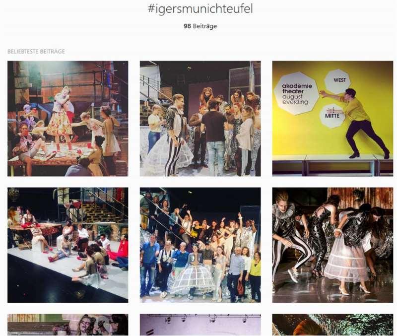 Screenshot von der Instagramseite zum Instawalk #instateufel in der Theaterakademie Auguste Everding in München