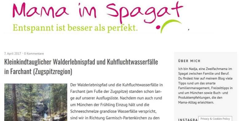 """Screenshot von """"Mama im Spagat"""" - das Blog für Vereinbarkeit von Familie und Beruf."""