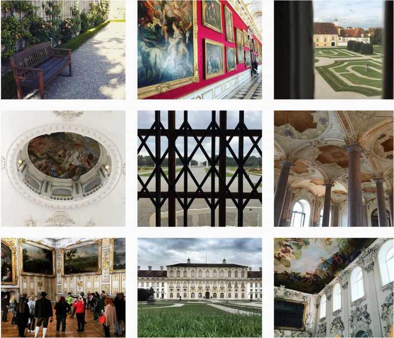 Bildabfolge Screenshot vom Lustwandeln in der Schlossanlage Schleißheim, Instagram screenshot.