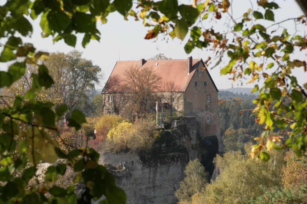 Blick durch Blätterwerk auf eine Burg, sonnenbeschien. Warum bloggen ist für jaellekatz klar: Kultur, Schreiben, Ideen.