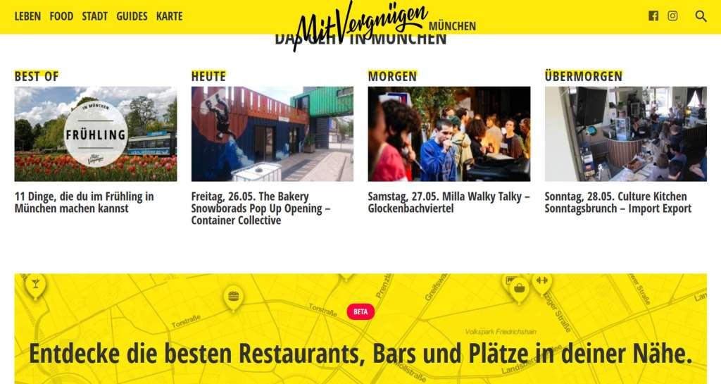 Screenshot des Online-Stadtmagazins Mit Vergnügen München mit  Ausgehtipps für jeden Tag