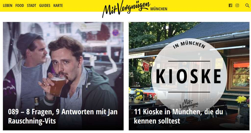 Screenshot vom Online-Stadtmagazin Mit Vergnügen München was kann man machen.